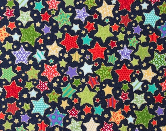 The Henley Studio Pattered Stars for Makower UK - Novelty Christmas - Sold by the yard