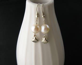 Pearl earrings with fine silver shell, beach wedding earrings