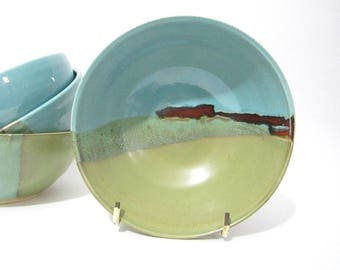 Pottery Bowl, Cereal Bowl, Small Bowl, Dessert Bowl, Green Blue Bowl, Handmade Ceramic Bowl, Abstract Landscape
