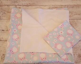 Changing Set - Burp Cloth & Changing Mat - Gift Set - Receiving Blanket