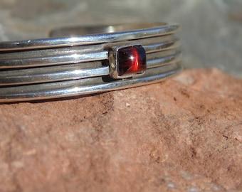 Lee Bennett ~ Navajo Sterling Silver and Red Garnet Deep Lined Cuff Bracelet - 33 Grams