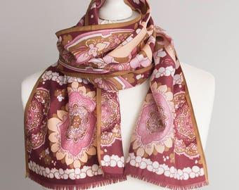 "vintage long scarf, spring scarf, retro polyester scarf, fabric women scarf 28x132cm / 11x52"" floral scarf purple pink orange 70'"