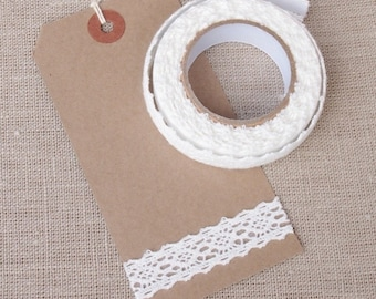 Lace adhesive tape - White Lace tape- Fabric tape - Approx 2 yards - Sewing, Wedding decoration, Scrapbooking