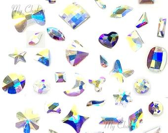 10 pcs Swarovski assorted random (No Repeat) Special Mixed Sharps No Hotfix nail art rhinestones CRYSTAL AB  (001 AB) *Free Shipping