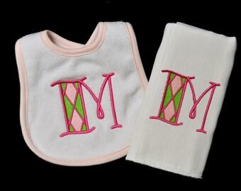 Adorable Plaid Monogram Initial Baby Burp Cloth and Bib Combo Set