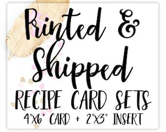 Recipe Card Inserts, Printed Recipe Cards, Bridal Shower Recipe Cards, Bridal Shower Inserts