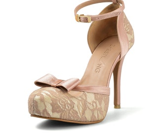 Donna Nude Lace Heels, Peach Lace Strappy Heels, Blush Lace Bridal Heels, Peach Bridal Shoe with Bow, French Lace Bridal Heel