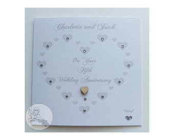 Handmade Personalised Fifth Wedding Anniversary Card 5th Linen Heart Marriage Gift