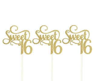 Sweet 16 Cupcake Topper, Sweet 16 Birthday, Sweet 16 Party, Glitter Sweet 16 Topper, Sweet 16 Gold!