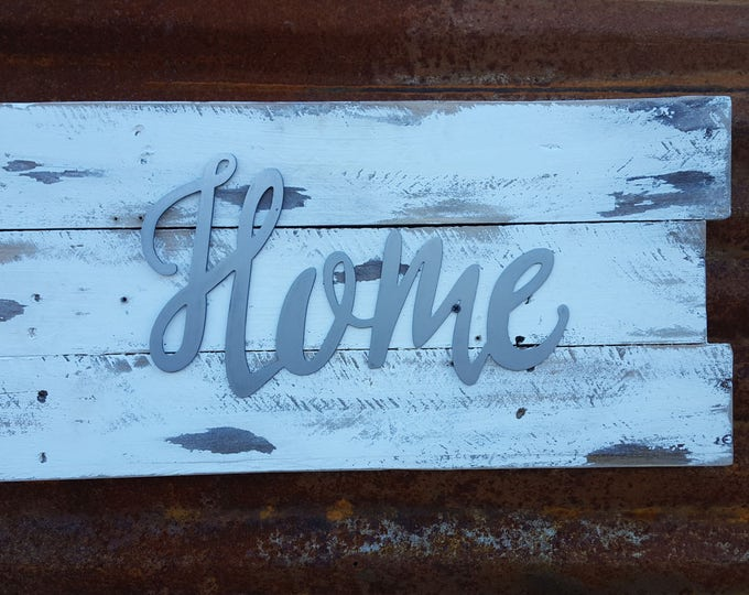 Home, Metal Word Sign, Farmhouse Decor, Rustic Home Decor Sign, Fixer Upper Style, Farmhouse Sign, Shabby Chic Style, Entry way wall art