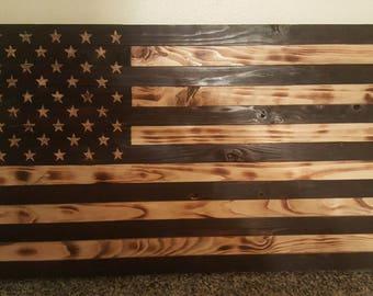 "19.5"" x 37"" Rustic American Flag - Burned"
