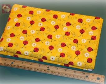 1/2 Yard Novelty Cotton Fabric Ladybug with Daisy Yellow
