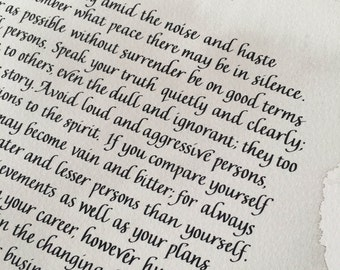 Desiderata Poem. Housewarming gift. Literature print. Inspirational print. Print Desiderata. Calligraphy print. Literature art print. Gift.