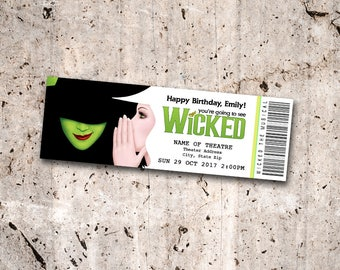 Wicked the Musical Collectible Theater Ticket *Personalized Digital Printable*