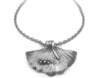 Nature Inspired Necklace |  Silver Gingko Necklace | Gingko Pendant | Ginkgo Leaf Necklace | Ginkgo Necklace | Silver Gingko Leaf Necklace