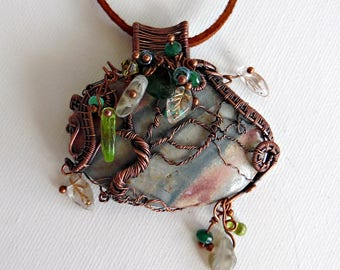 Wind Swept Wire wrapped tree of life - Jasper - Wire Sculpture - TOL