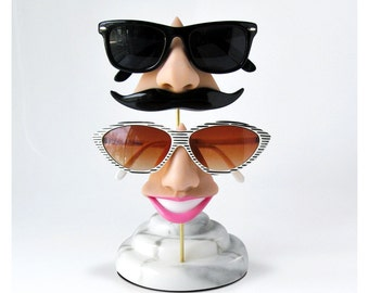 Couples nose eyeglass stand, unique wedding gift, sunglasses storage