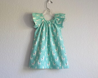 Girls Aqua Flannel Dress with Llamas - Aqua with White and Grey Llamas - Girls Flutter Sleeve Dress - Size 12m, 18m 2T, 3T, 4T, 5, 6 or 8
