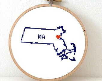 MASSACHUSETTS Map Cross Stitch Pattern. Massachusetts state embroidery pattern. Massachusetts ornament pattern with Boston. MA decor.