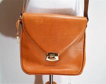 Exceptional Caramel Colored Goldpfeil Crossbody Purse Bag, c. 1990