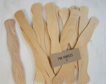 50 DIY Program Fan Sticks, Wavy Wooden Fan Handles, Wedding Ceremony Fan Handles, Wooden Fan Sticks