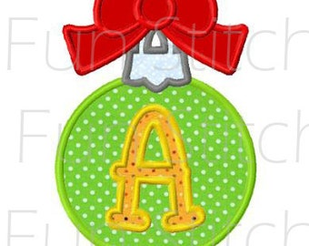 Christmas ornament applique font letters machine embroidery design