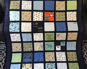 Custom Baby Clothes Quilt WITH SASHING - Handmade Quilt out of Your Sweet Baby's clothes!! Pick your size!