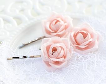 719 Bridesmaid flowers hair pin, Blush pink flowers hair pin, Bridesmaid gift, Bridesmaid flowers, Flower bridesmaid flowers hair accessory