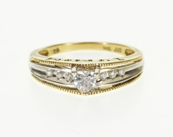 10k Heart Two Tone Accented Travel Engagement Ring Gold