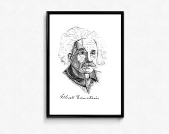 Einstein Art Print - Scientist print Albert Einstein Portrait Ink Drawing - Science Poster (Physics, Math poster) - Wall Decor
