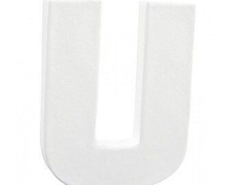 "Small letter ""U"" white 3D cardboard 12 cm - Decopatch - Ref AC273 - until the stock!"