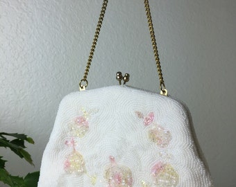 60's Floral Beaded Evening Bag