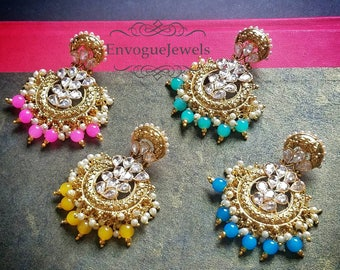 Indian earrings, Indian wedding jewelry, Kundan Jhumkas, Polki jhumka, Pakistani jewelry, South Indian jewelry, Bollywood jewelry, Boho.