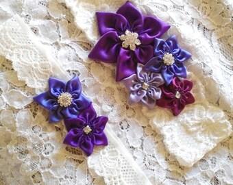 Purple Shades, Flower Wedding Garter Set, Bridal Garter Set, Diamond White Lace Garter, Purple, Lilac, Violet, Regency, Happily Ever After