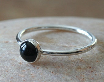 Round Black Onyx Stacking Ring 6 mm, Sterling Silver Ring, Gemstone Ring, Black Onyx Ring, Womens Jewelry, Black Stone Ring, Size 2 to 15