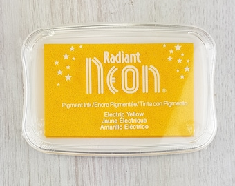 Neon Ink Pad - Radiant Neon Electric Yellow Pigment Ink Pad Large - Ink for stamp - Inkpad for Rubber Stamp - Bright Yellow Ink - Yellow Ink