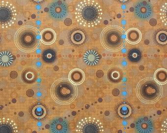 Vintage Crazy Circles in brown, blue, and beige Panel-style Aloha Shirt handsewn to order by Dottykins in your special size