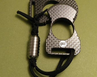 """Knuckle Ring """"Punisher"""" silver silk Carbon Fiber"""