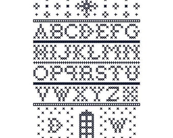 TARDIS Sampler - Original Cross Stitch Chart | Inspired by Doctor Who