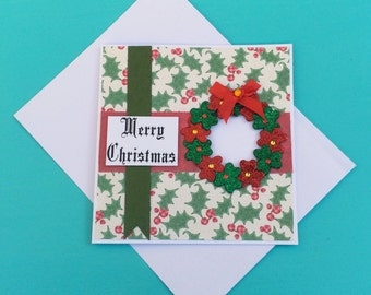 Merry Christmas Wreath Card with Envelope