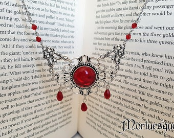 Silver and Blood Red Gothic Beaded Large Pendant Necklace