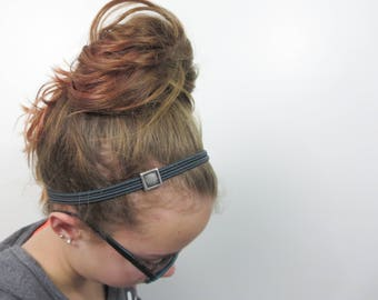 headband zipper style with accent jewel in your choice of zipper color and square slide charm.