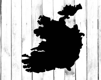 Ireland Country Silhouette Outline - Car/Truck/Laptop/Computer/Phone/Home Decor/Bumper Sticker - Vinyl Decal