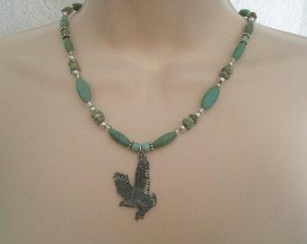 Turquoise Eagle Necklace, southwestern jewelry, southwest jewelry, turquoise jewelry, native american jewelry theme, western jewelry country