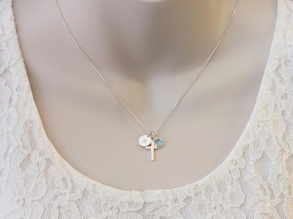 Easter gift for goddaughter gift necklace sterling silver easter gift for goddaughter gift necklace sterling silver initial birthstone cross necklace god daughter birthday graduation baptism gift negle