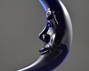 Hanging Glass Moon Ornament, Solstice, Blue Moon, Crescent Moon, Man in the Moon, Lampwork Sculpture