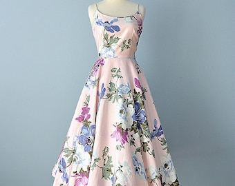 Vintage 1950s Sundress...CLAYMORE JR. Polished Cotton Floral Print Dress 24 Inch Waist X Small