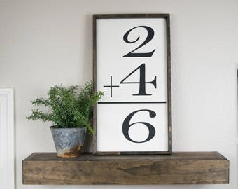 Math flash card sign, family number sign, 2 plus 2, addition number sign, custom wood family number sign, flash card art, gallery wall sign