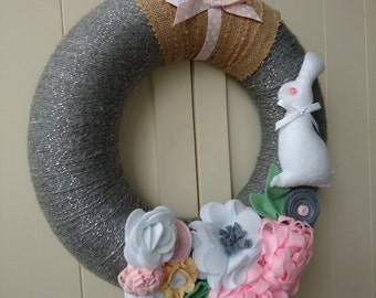 Large Spring Bunny and Felt Flower Wreath