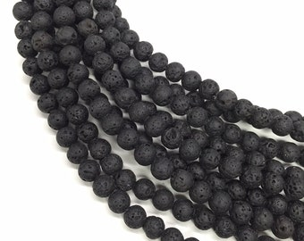 8mm Lava Beads 16 Inch Strand, Approx 48 beads Essential Oil Diffuser Bracelet Beads, Porous lava beads for jewellery making